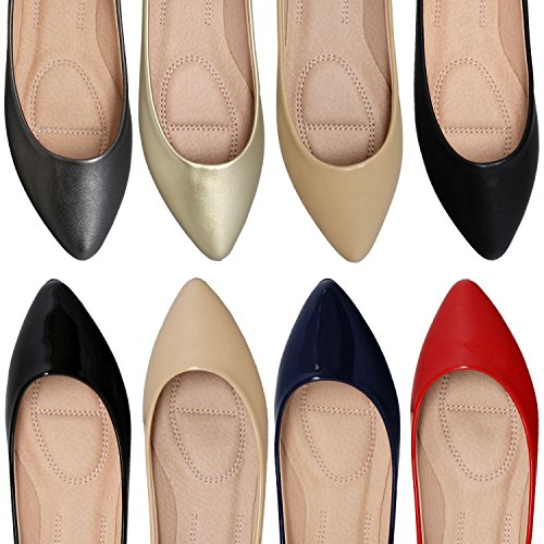 On Women Shoes Patent Closed Toe Slip Toe Navy Flats SOBEYO Ballet Pointed 4xBqYY1