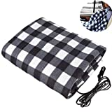 EIGIIS 12v Car Electric Heating Blanket Fleece Vehicle Heated Travel Blankets for Car Truck RV Boats (Black)