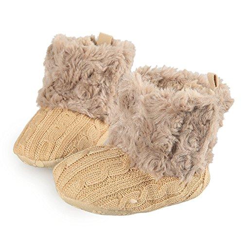 Arshiner Toddler Girls Fleece Woollen Fur Knitted Snow Boot (M(6-9mths), Light Coffee(FBA))