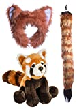 Wildlife Tree Stuffed Plush Red Panda Ears Headband and Tail Set with Baby Plush Toy Red Panda Bundle for Pretend Play Animals Dressup