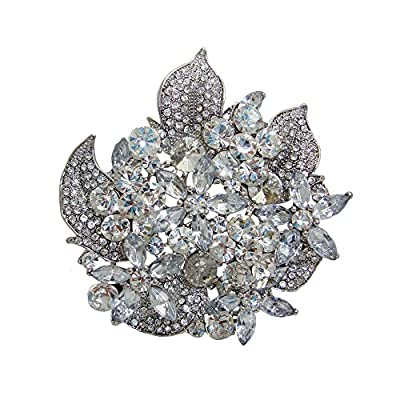 TTjewelry Bridal Flower Wedding Brooch Pin Clear Austria Crystal Bouquet Pendant for sale