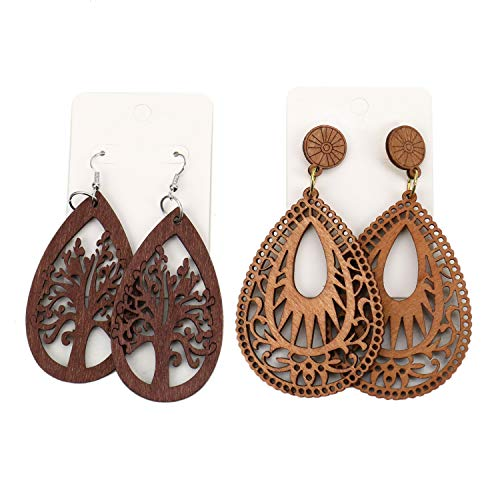 - JETEHO Bohemian Tree of Life Dangle Earrings Tear Drop Wooden Earrings for Women