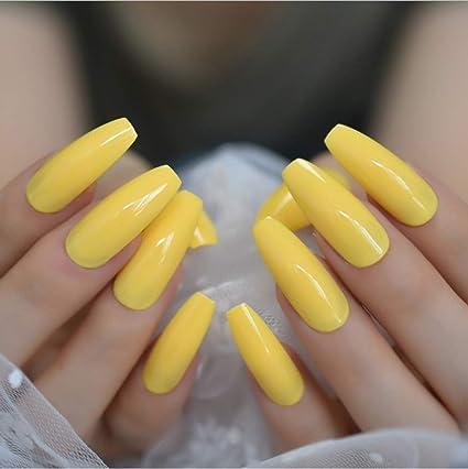 Uñas postizas Neón Amarillo brillante Presione sobre uñas ...