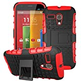 Moto G -1st Gen Case, ANGELLA-M Built-in Kickstand Hybrid Armor Case Detachable 2in1 Shockproof Tough Rugged Dual-Layer Cover Case for Motorola Moto G X1032 (1st Gen,2013) Red