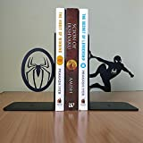 HeavenlyKraft Spiderman Decorative Metal Bookend, Non Skid Book End, Book Stopper for Home/Office Decor/Shelves, 5.9 X 3.9 X 3.14 inch per Piece, Support Outside