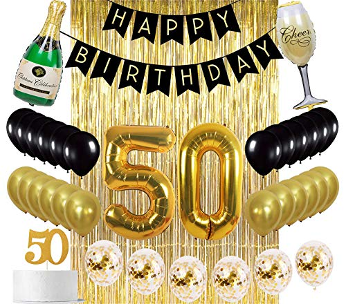 Sllyfo 50th Birthday Decorations Party Supplies Gold Kit - 50th Birthday Gifts for men or women,50th Cake Topper|Banner|sash|gold Curtain Backdrop Props|Confetti Balloons|Champagne balloon. (50) -