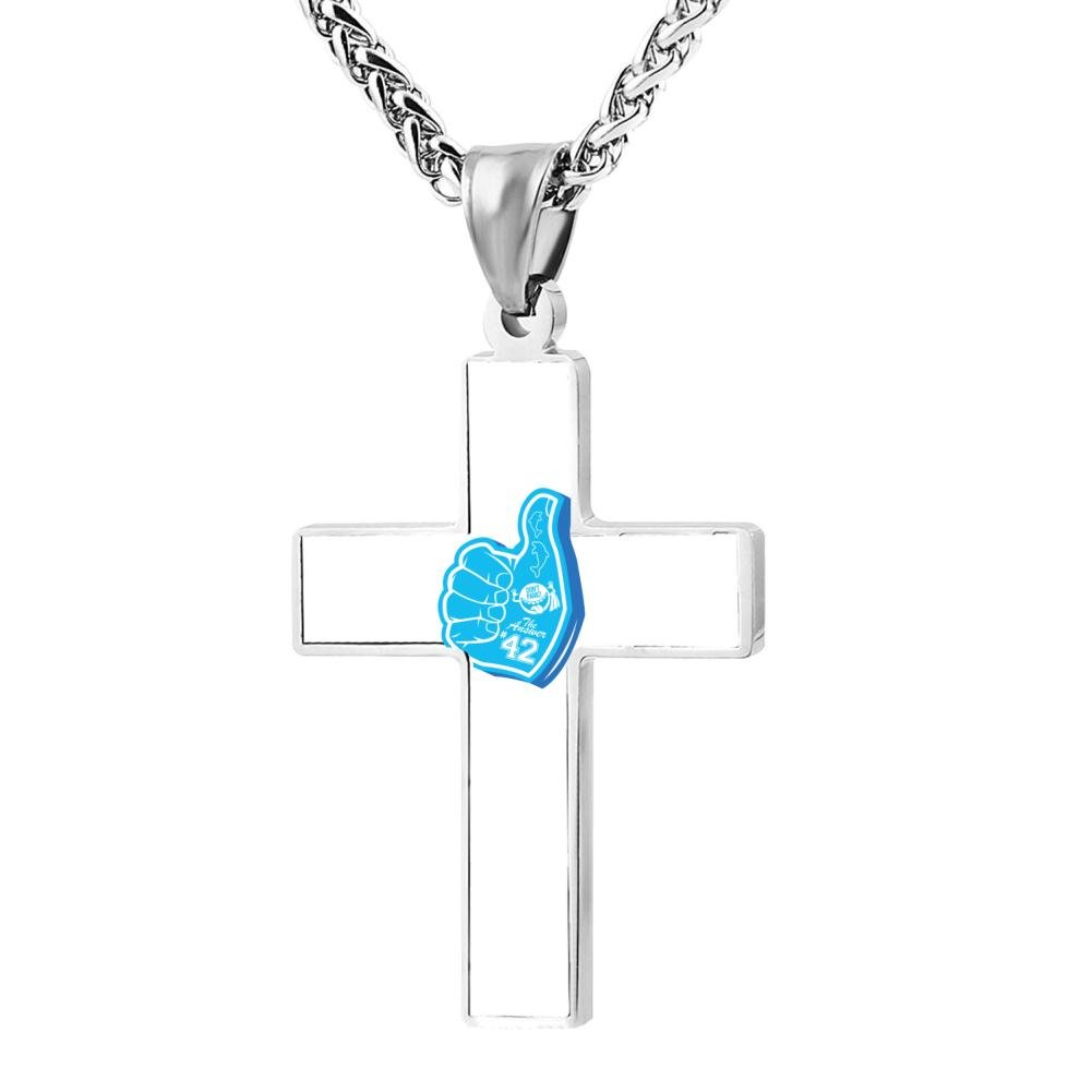 FollowC Dont Panic Cross Pendant Jewelry Zinc Alloy Chain Necklace for Men Women 24 Inches