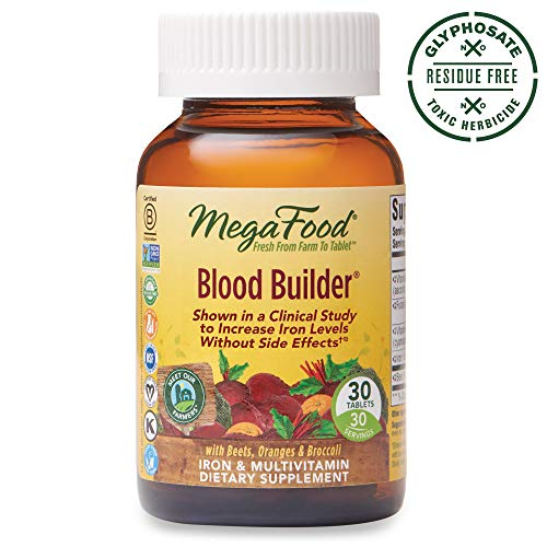 MegaFood, Blood Builder, Daily Iron Supplement and Multivitamin, Supports Energy and Red Blood Cell Production Without Nausea or Constipation, Gluten-Free, Vegan, 30 Tablets (30 Servings) (FFP)