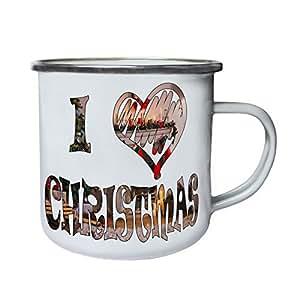 I Love Christmas Time Retro,Tin, Enamel 10oz Mug u315e