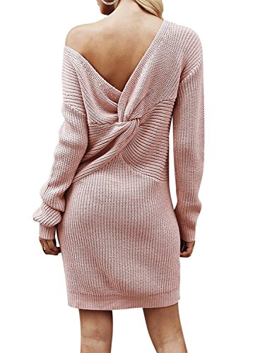 BerryGo Women's Casual Long Sleeve Off The Shoulder Knitted Sweater Mini Dress Dusty Pink,One Size (Sweater Dresses Boots)