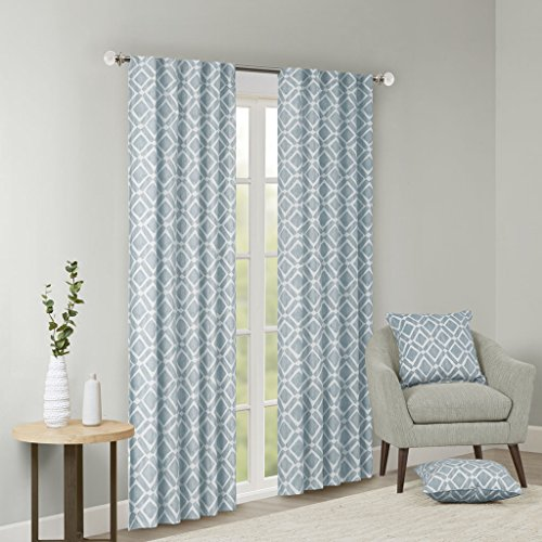 Blue Curtains For Living Room , Modern Contemporary Fabric Curtains For Bedroom , Delray Diamond Print Rod Pocket Window Curtains , 42x84