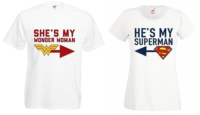 f5c697c7d2 TRVPPY 2X Couple Partner Men's & Women's T-Shirts/Model Superman &  Wonderwoman/