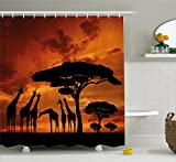 Lunarable Africa Shower Curtain, Safari Animal with Giraffe Crew with Majestic Tree at Sunrise in Kenya, Fabric Bathroom Decor Set with Hooks, 105 inches Extra Wide, Burnt Orange and Black