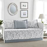 Blue and White 5 Pieces Printed Quilted Daybed Set Made From Cotton, Floral Pattern and Country Style Included Cross Scented Candle Tart