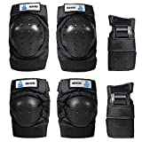 OMID 6Pcs Professinal Skateboard Rollerblade Protective Gear Set for Adult/Kids/Men/Woman/Child/Youth/Teen/Toddler - Mountain Bike Knee Pads and Elbow Pads with Wrist Guards, Sports Bike Bicycle Cycling Skating Protective Gear for Skateboarding/Rollerblading/Snowboarding/Riding
