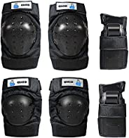 OMID Kids/Adult Skateboard Knee Pads, Professional 6Pcs Protective Gear Elbow Pads Wrist Guards for Rollerblad
