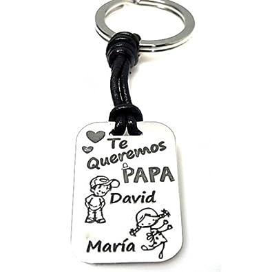 Minoplata Llavero de Plata papá Personalizado con Figuras y ...