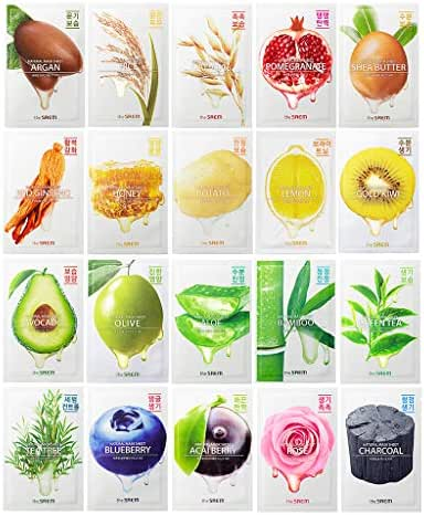 [the SAEM] Natural Facial Mask Sheet 21ml Combo Set (20 Pack) - Korean Daily Skin Care Variety Pack, Moisturizing, Brightening, Soothing, Firming Care