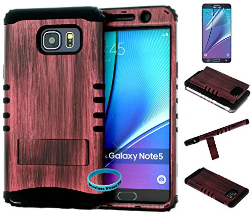 Galaxy Note 5 Case, Wireless Fones TM Hybrid Kickstand Shockproof Impact Resistant Cover Dark Wood Snap On Over Black Silicone Case (Wireless Fones TM Wrist band & Screen Protector Included) from wireless fones