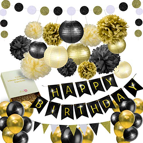 31 Pcs of Black Gold and Cream Birthday and New Years Eve Party Decoration Set Pompom Lanterns Polka Dot Triangle Garland Banner (Black) -