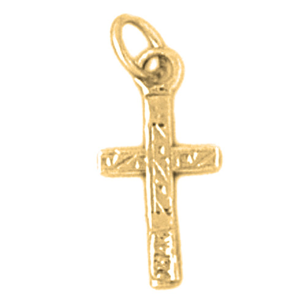 17 mm 14K Yellow Gold Latin Cross Pendant Jewels Obsession Latin Cross Charm Pendant