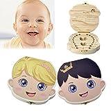 CozyCabin Baby Tooth Box, Baby Teeth Saver Box Wood Keepsake Organizer Deciduous Souvenir Box Baby Teeth Box (English, Prince)