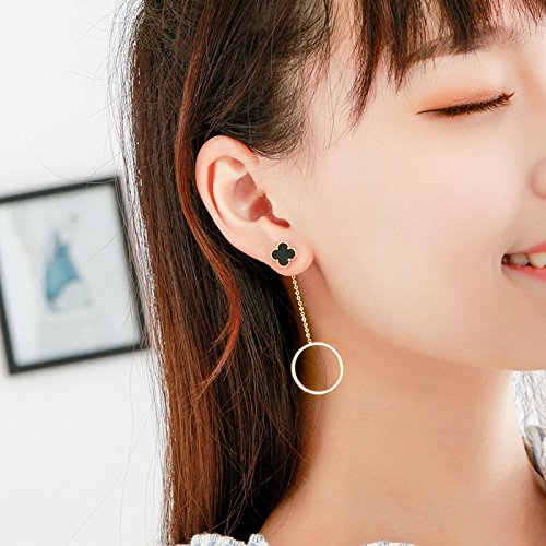 Jaese Korean black four-leaf clover earrings hypoallergenic long section simple geometric circle temperament earrings no pierced ear clip women girls