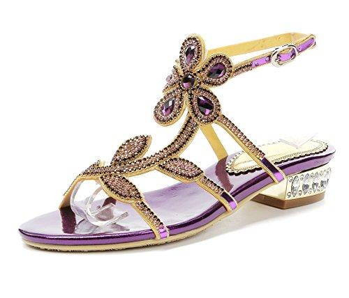 Plano T Verano En Bohemia Flor Correa Señoras Mujer Dulce Chancletas De Sandalias Púrpura Imitación Zapatos Nvxie Diamante Playa wgXfqAF7xW