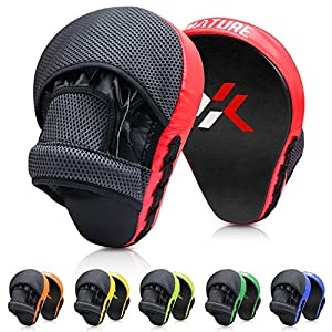 Well-Being-Matters 51NW-tfyT%2BL._SS300_ Xnature Essential Curved Boxing MMA Punching Mitts Boxing Pads w/Gift Box Hook & Jab Pads MMA Target Focus Punching…