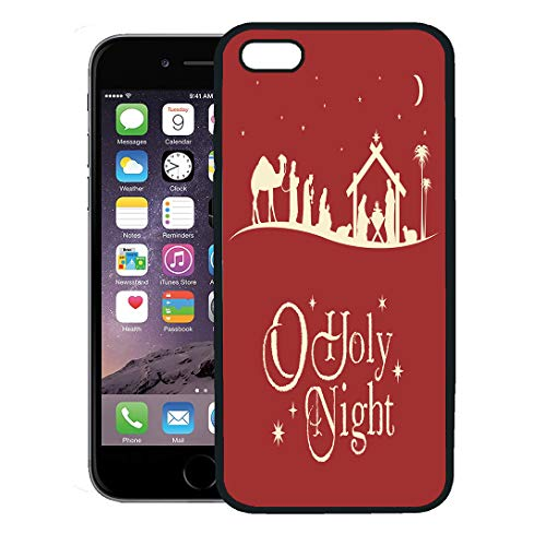 Semtomn Phone Case for iPhone 8 Plus case,Holy Christmas Nativity Scene Silhouette Manger Jesus Baby Family iPhone 7 Plus case Cover,Black]()