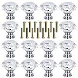 Wobe 36 Pcs Crystal Glass Cabinet Knobs 30mm, Drawer Pulls Handles Diamond Shape Drawer Kitchen Cabinets Dresser Cupboard Wardrobe Pulls Handles Drawer Knobs for Kitchen, Bathroom