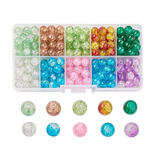 250 Pcs Assorted Colored 8mm Crackle Glass Beads Crackle Crystal Round Beads with Transparent Container for DIY and Art Craft Jewelry Bracelet Necklace Earring Keychain Making
