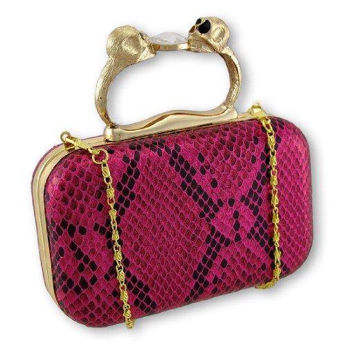 Metallic Hot Pink Snakeskin Textured Clutch with Skull Handle