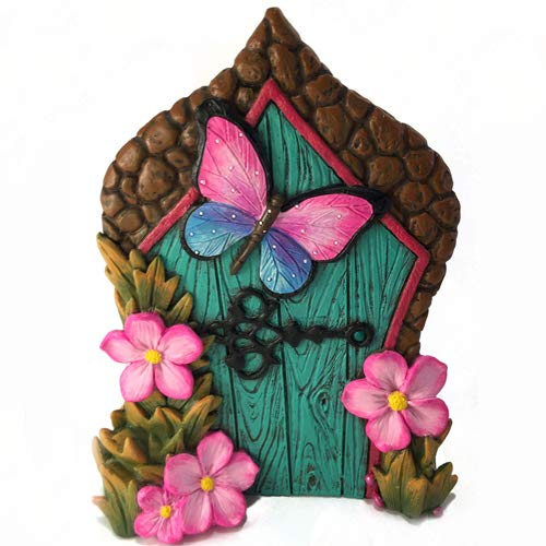 GlitZGlam Miniature Butterfly Fairy Door for The Enchanted Garden Fairies and Gnomes. A Fairy and Lawn Gnome Garden Accessory