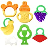 organic baby toys - Bassion Baby Teething Toys - BPA Free Natural Organic Freezer Safe Teether Set for 3 to 12 Months Babies, Infants, Toddlers(7 Pack)