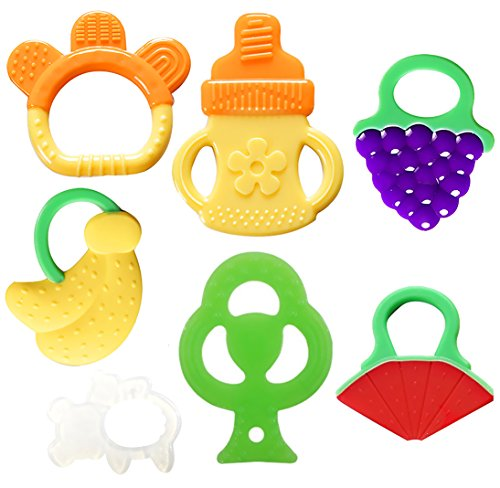 Doll Baby Teething Ring - Bassion Baby Teething Toys - BPA Free Natural Organic Freezer Safe Teether Set for 3 to 12 Months Babies, Infants, Toddlers(7 Pack)