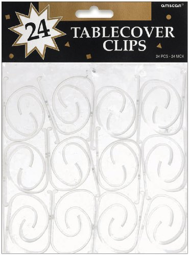 Tablecover Clips 24/Pkg, Clear Plastic