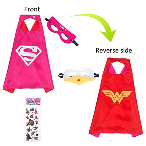 MIJOYEE Superhero Capes Mask Costumes Kids,Cartoon Dress up (Wonder Woman Superman - Girls) -
