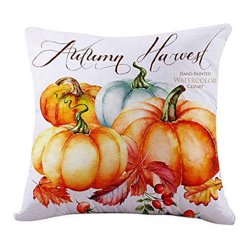 Thanksgiving Halloween Decorations Square Cover Decor Pillow Case Sofa Waist Throw Cushion Cover by GREFER (White-A)]()
