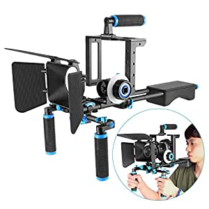 Flashandfocus.com 51NW1lNozxL._SS300_ Neewer Aluminum Film Movie Kit System Rig for Canon/Nikon/Pentax/Sony and other DSLR Cameras (Style II)