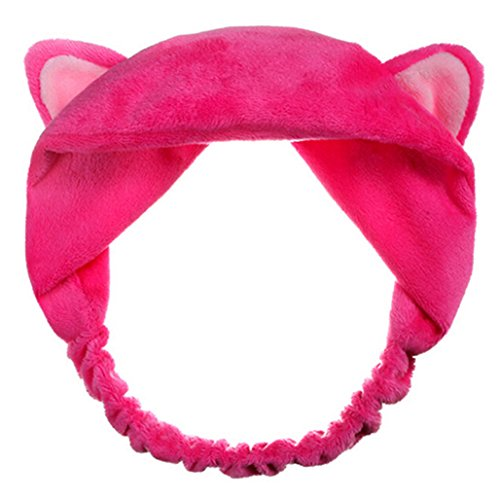 Price comparison product image Baost Girl's Fashion Cute Cat Ears Headband Hair Head Band Party Gift Headdress(Rose-red)