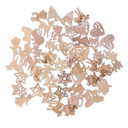 BESTOYARD 50pcs Vintage Wooden Christmas Tree Decorations Ornaments Wooden Christmas Tree Bell Stocking Snowflake Santa Claus Reindeer Angel Snowman Shapes Wooden Gift Tags with Holes (Random Pattern) ()