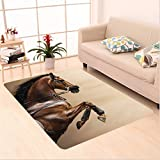 Nalahome Custom carpet estnut Color Horse Jumping in a Hackamore Life Force Power and Honor Love Sign Print Brown Cream area rugs for Living Dining Room Bedroom Hallway Office Carpet (5' X 7')