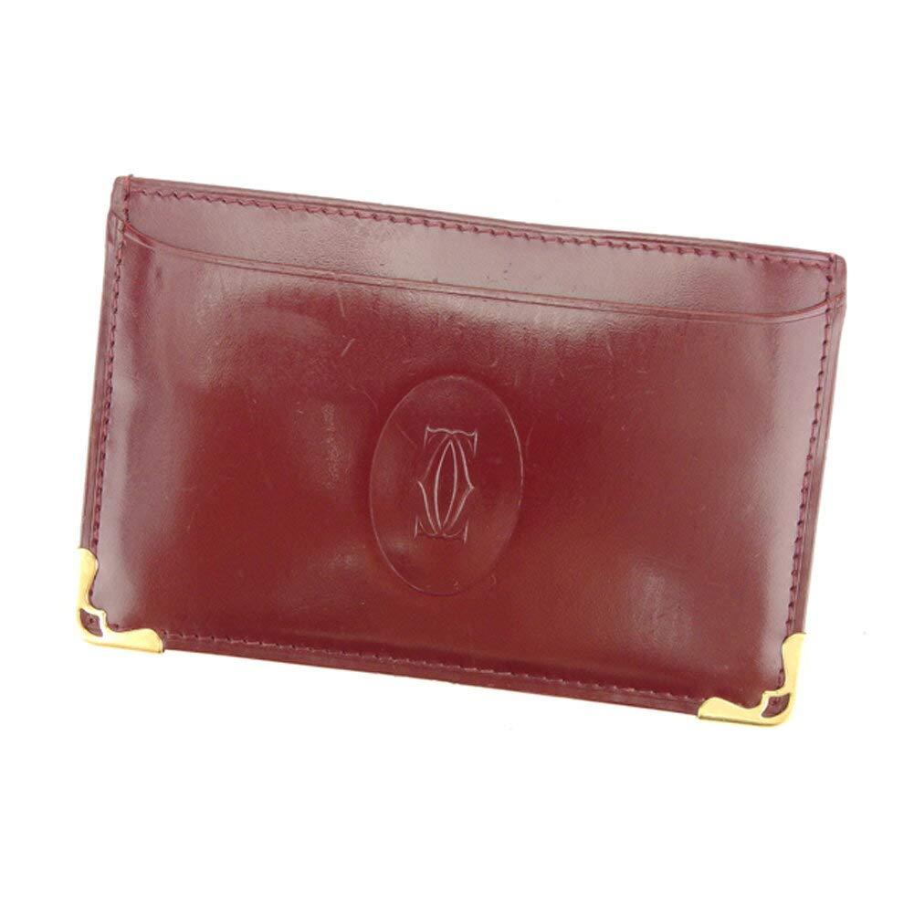 (カルティエ) Cartier カードケース 名刺入れ パスケース ボルドー ゴールド マストライン レディース メンズ 中古 C3317   B07HMSBYGB