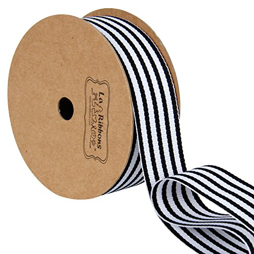 LaRibbons Black and White Striped Grosgrain Ribbon/Gift Wrap Ribbon, 1 Inch by 10 Yard/Spool ()