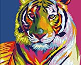 YEESAM ART Paint by Number Kits for Adults Kids - Painted Tiger 16x20 inch Linen Canvas Without Wooden Frame