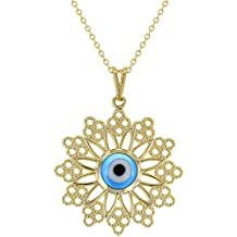 "18k Gold Plated Blue Greek Evil Eye Protection Nazar Medal Pendant 19"""