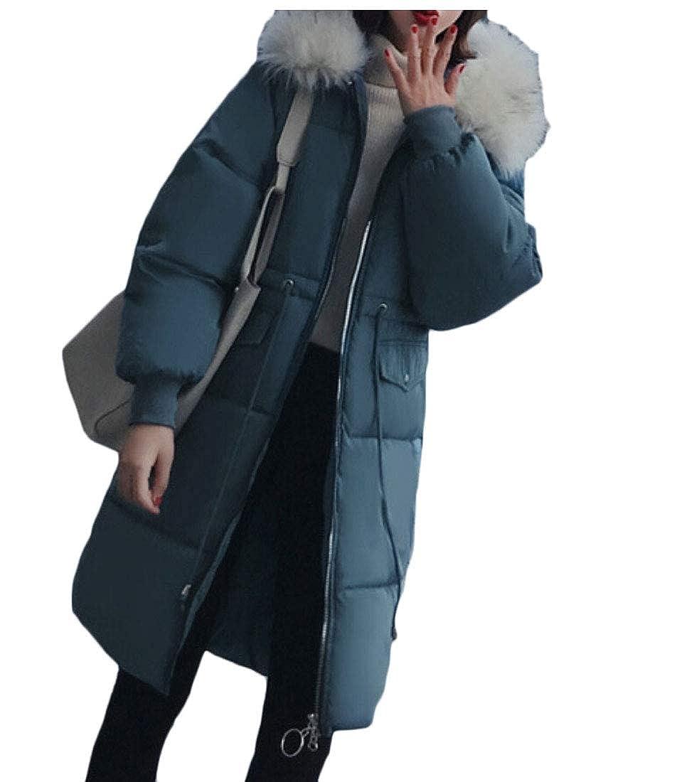 bluee Keaac Womens Faux Fur Hooded Warm Down Coats Long Down Jackets