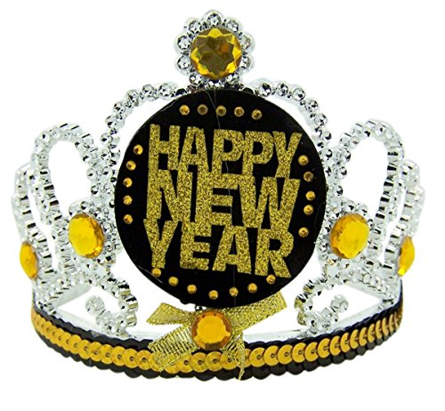 Happy New Years Black Gold and Silver Holiday Tiara Headband