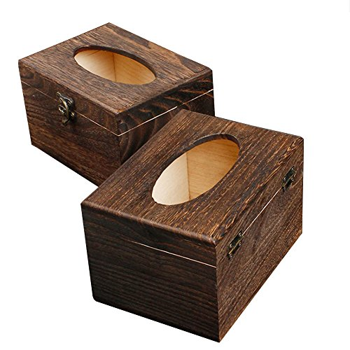Ieasycan Square wooden mahogany tissue box cover within reach in every room¡ªpowder room, bedroom, and kitchen (Metro Wine Box)